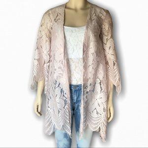 Love, Fire Light Pink Lace Kimono